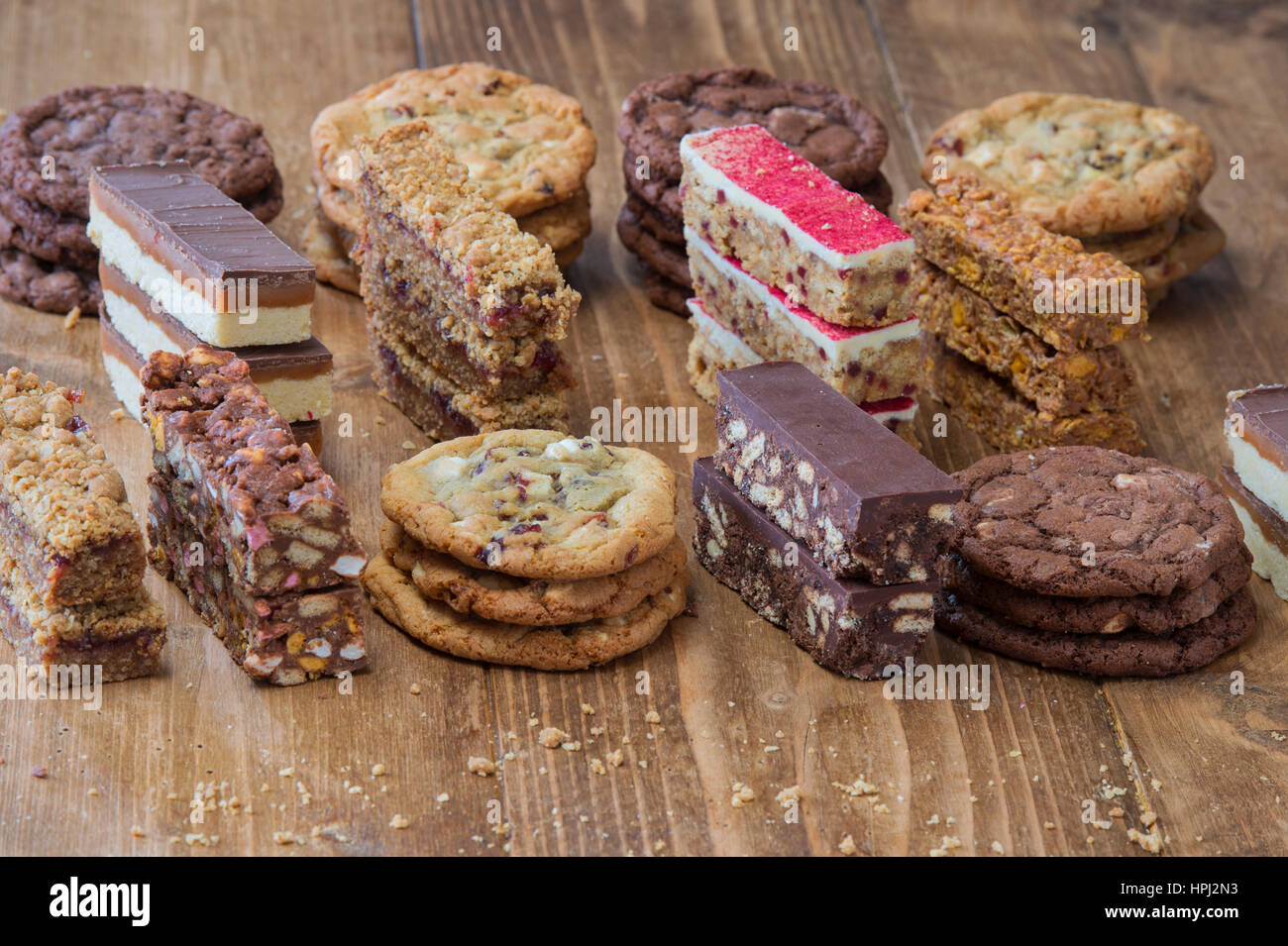 Chocolate cookies and tray bakes pattern - Stock Image