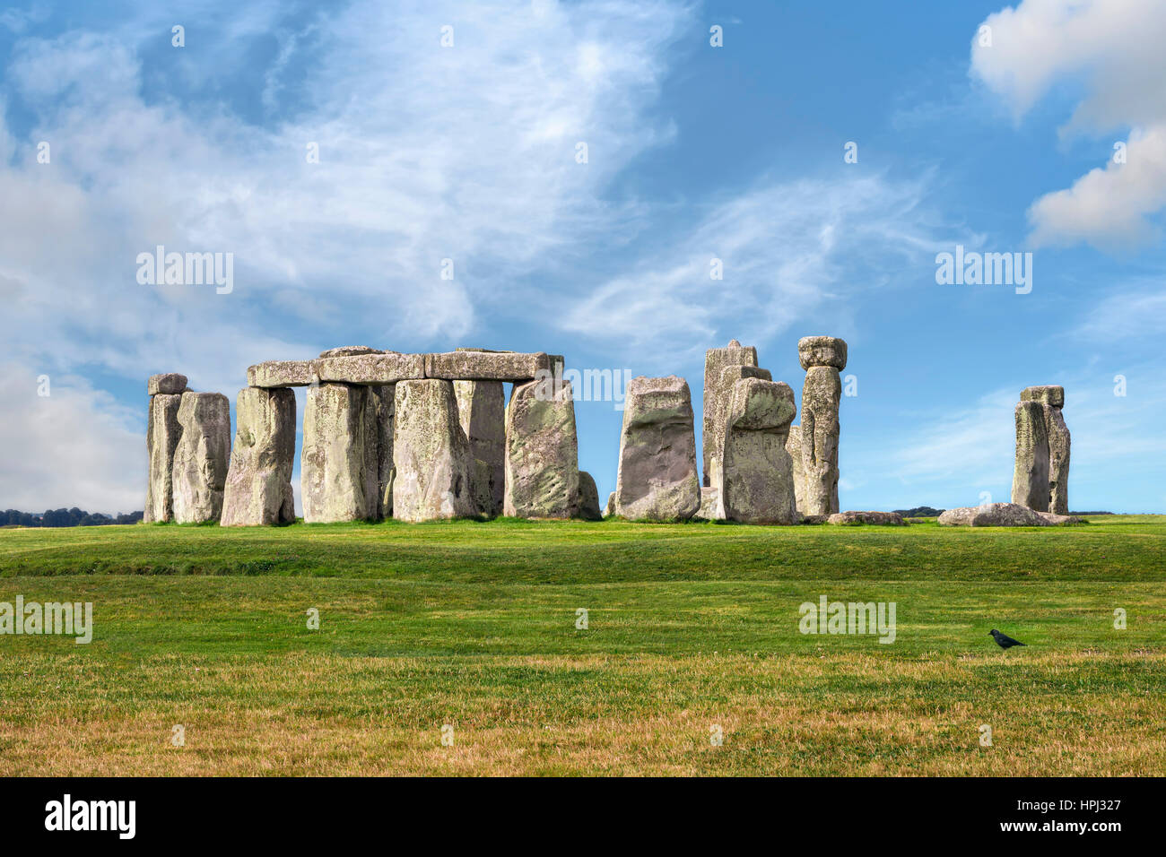 Amesbury, Wiltshire, United Kingdom - August 14, 2016: Stonehenge prehistoric megalith monument arranged in circle. - Stock Image