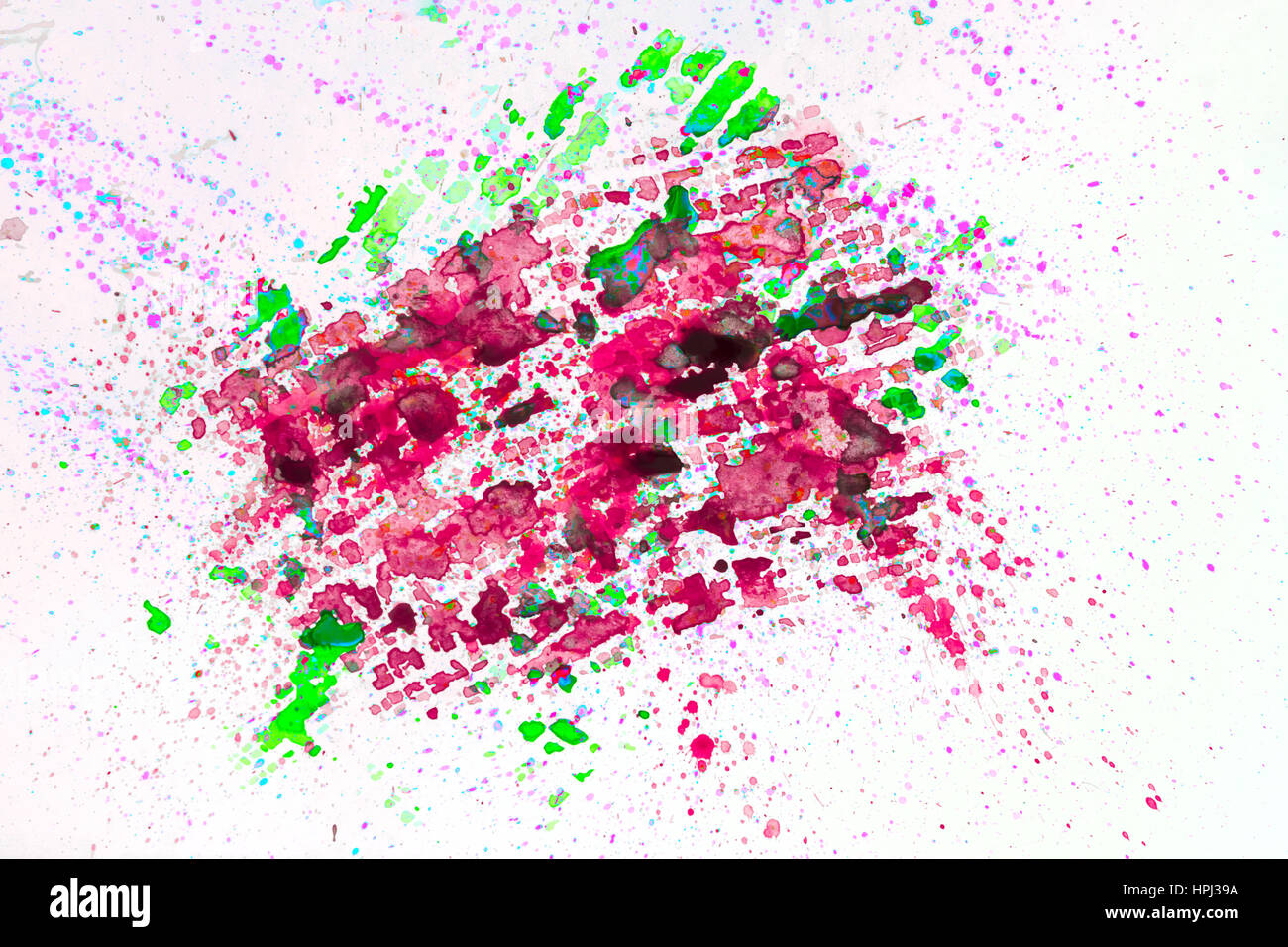 Watercolor abstract background painting, hand drawn on paper grain texture. For modern pattern, wallpaper, banner - Stock Image