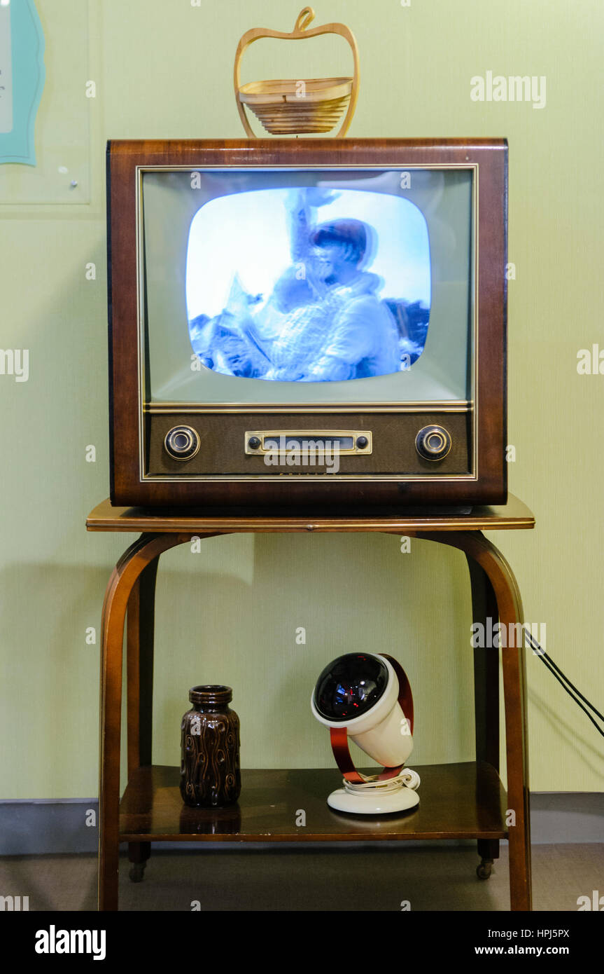 Black and white television in a living room from the 1950s. - Stock Image