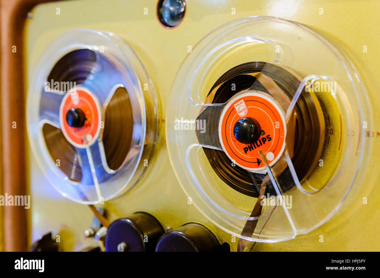 Old fashioned Philips Reel-to-Reel tape player. - Stock Image