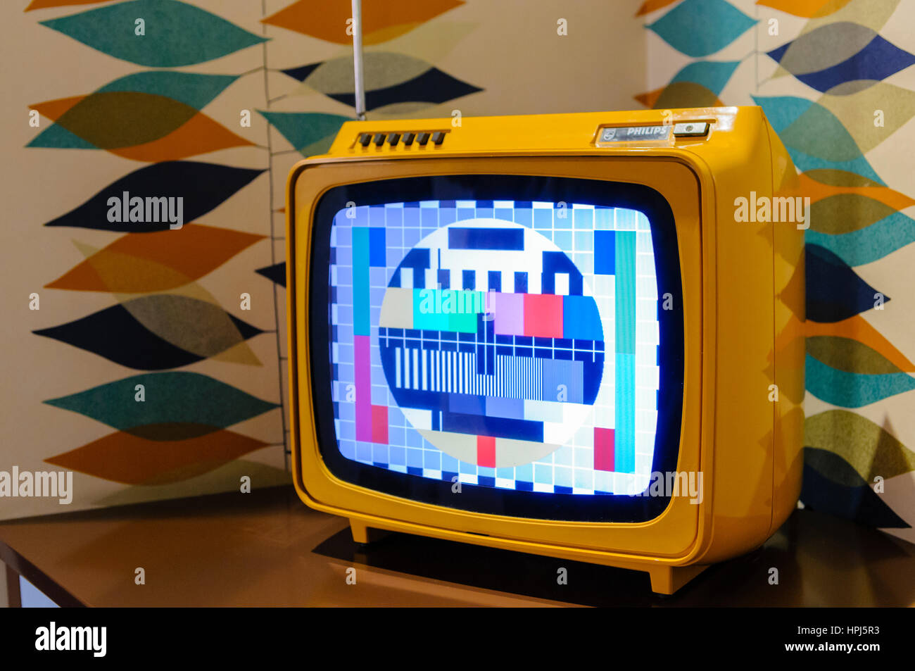 Old Philips colour CRT television from the 1960s. - Stock Image