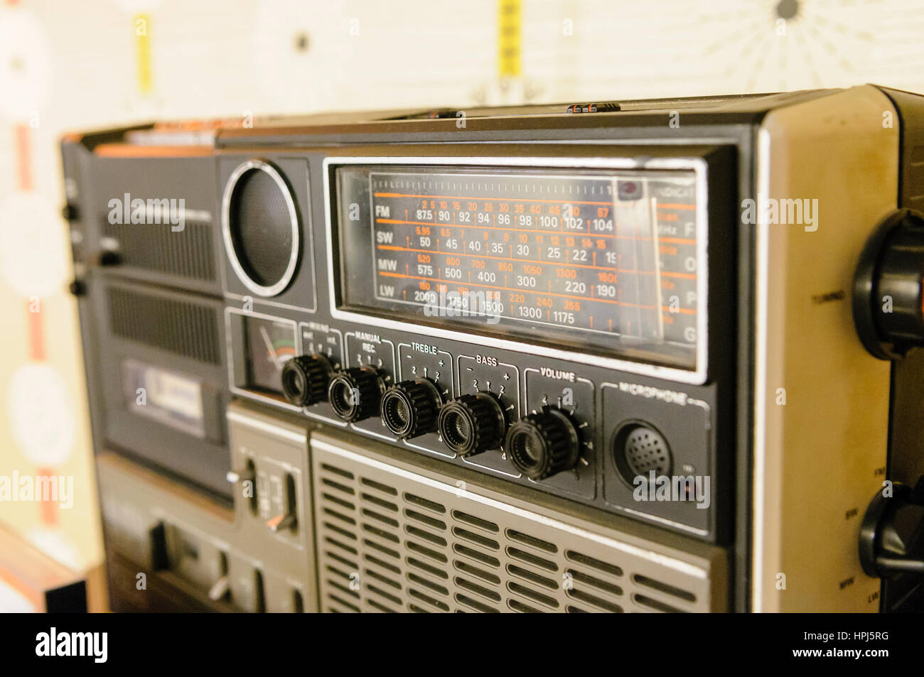 Radio Cassette Player from the 1980s. - Stock Image