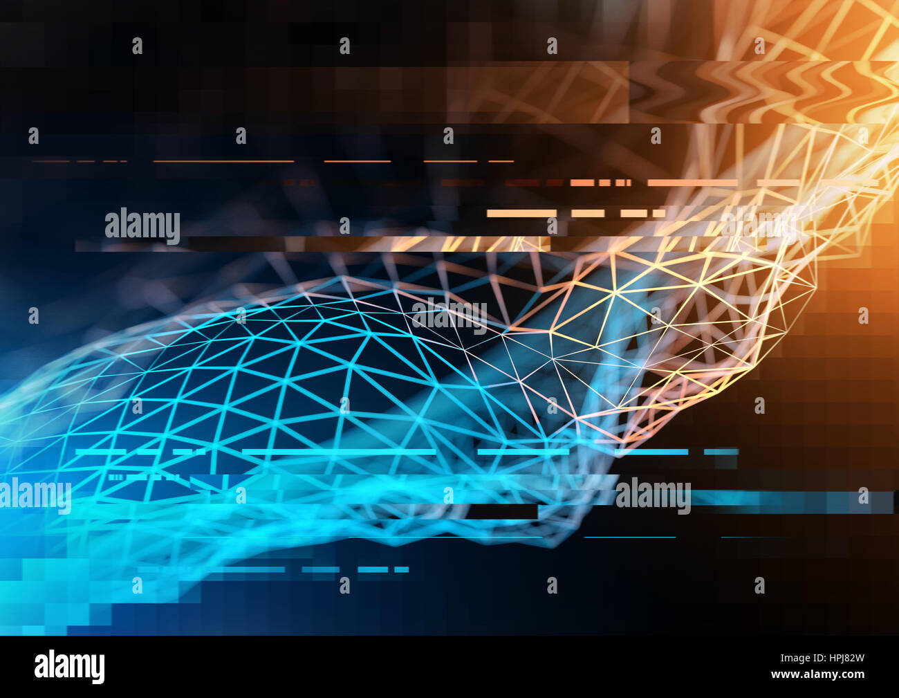 Complex technology network concept with big data and information visualized in polygons. 3D Illustration - Stock Image