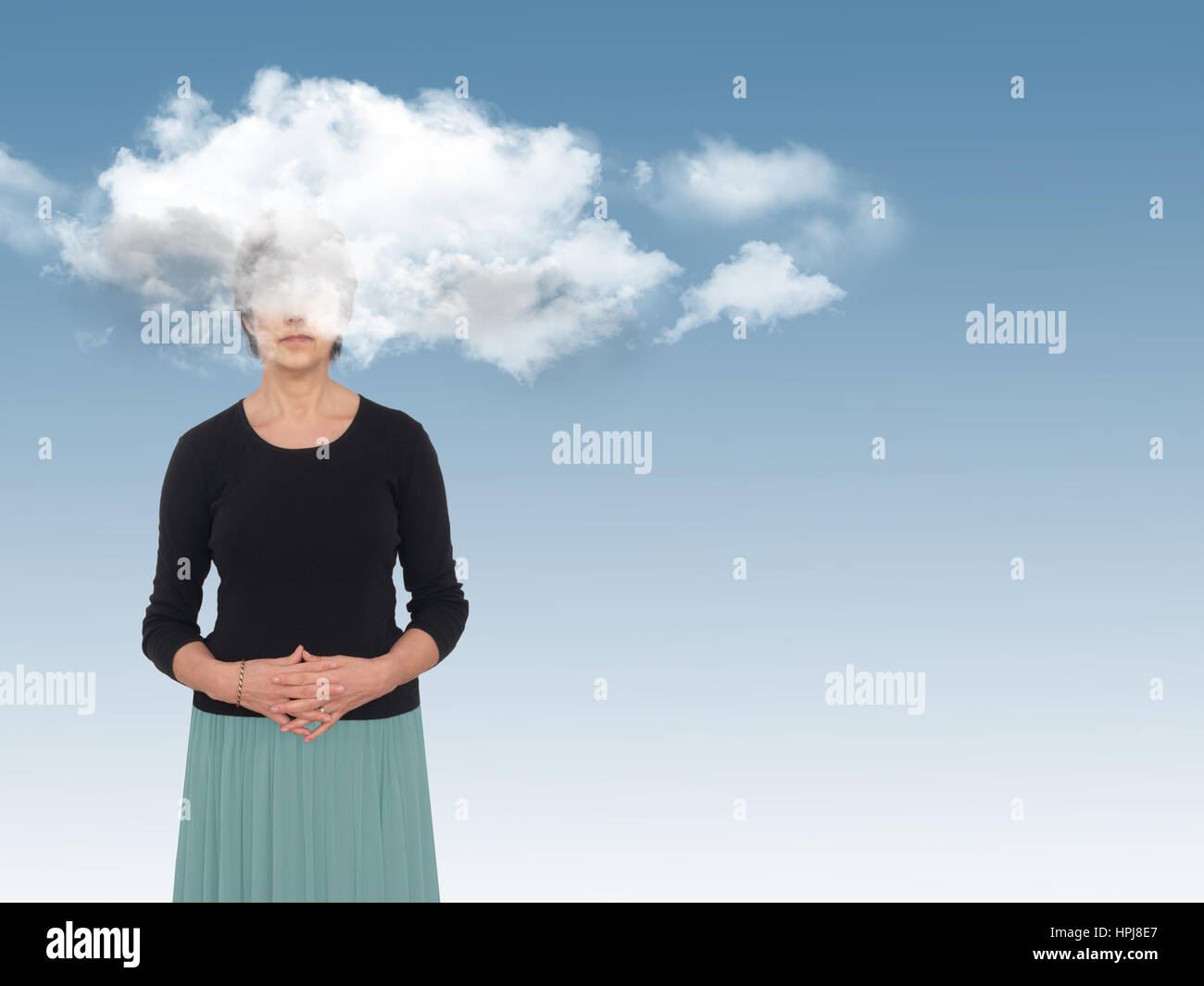 Woman with head in clouds on blue. Day dreams concept, metaphor. - Stock Image