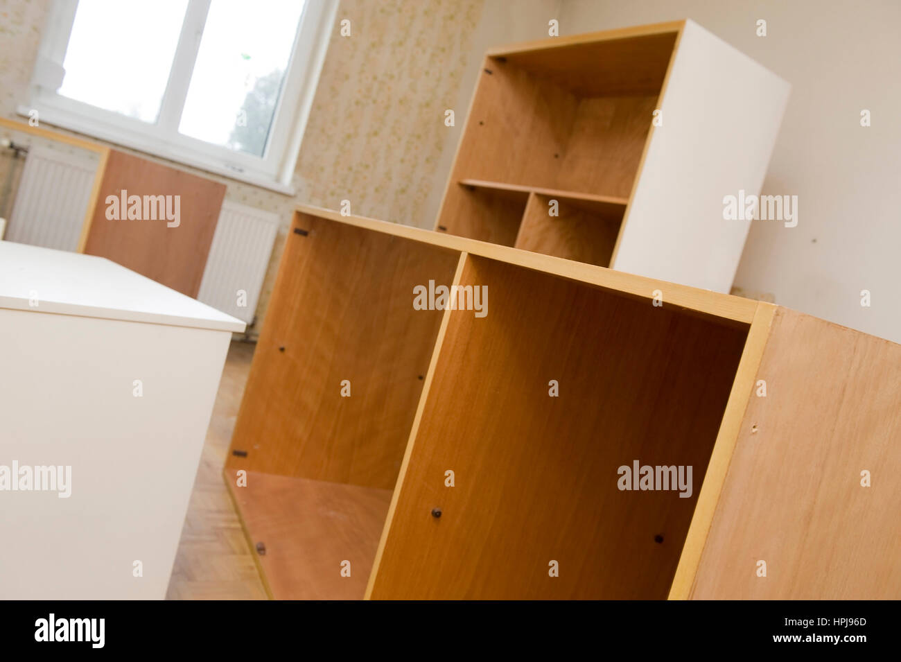 Alte, leere Moebel im Wohnraum - old furnitures in a room Stock Photo