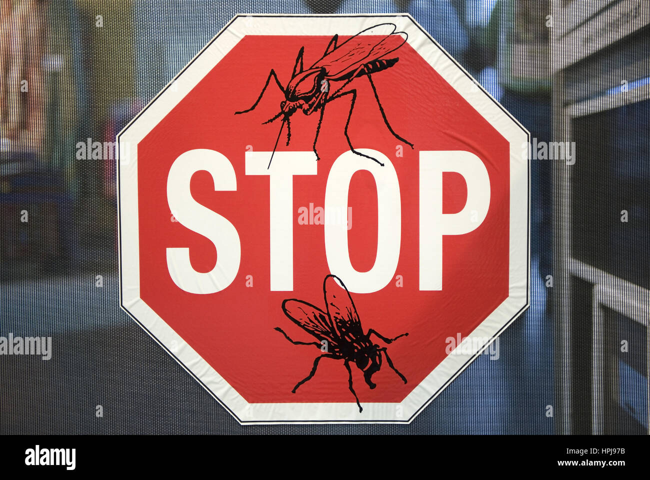 Stopschild Insekten - stop shield for insects - Stock Image