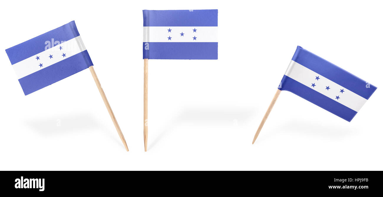 Small cocktail flags of Honduras in different positions isolated on white.(series) . Also easy to use as a design Stock Photo