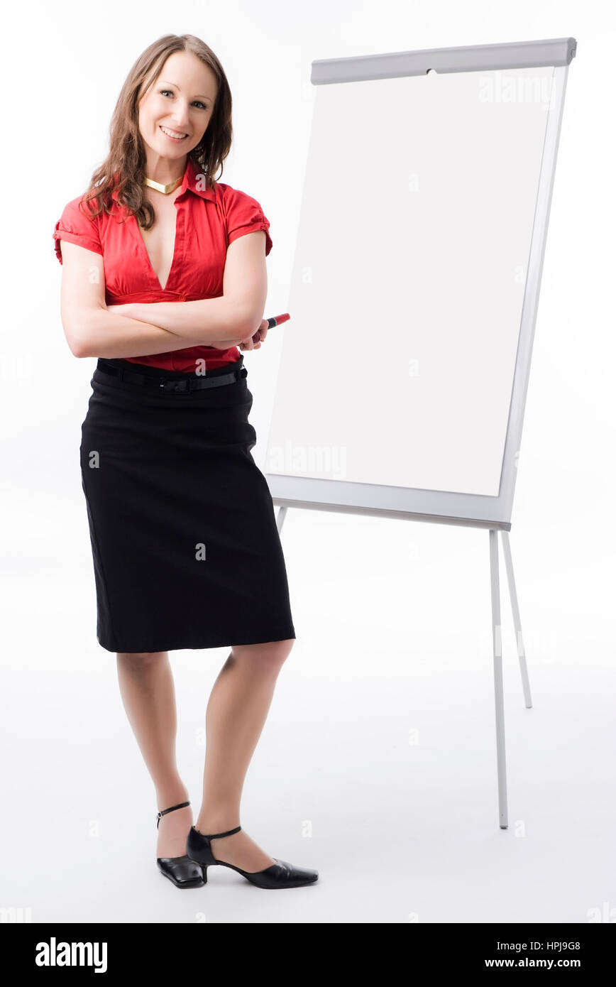 Model released , Businessfrau vor Flip-Chart - business woman with flip chart Stock Photo