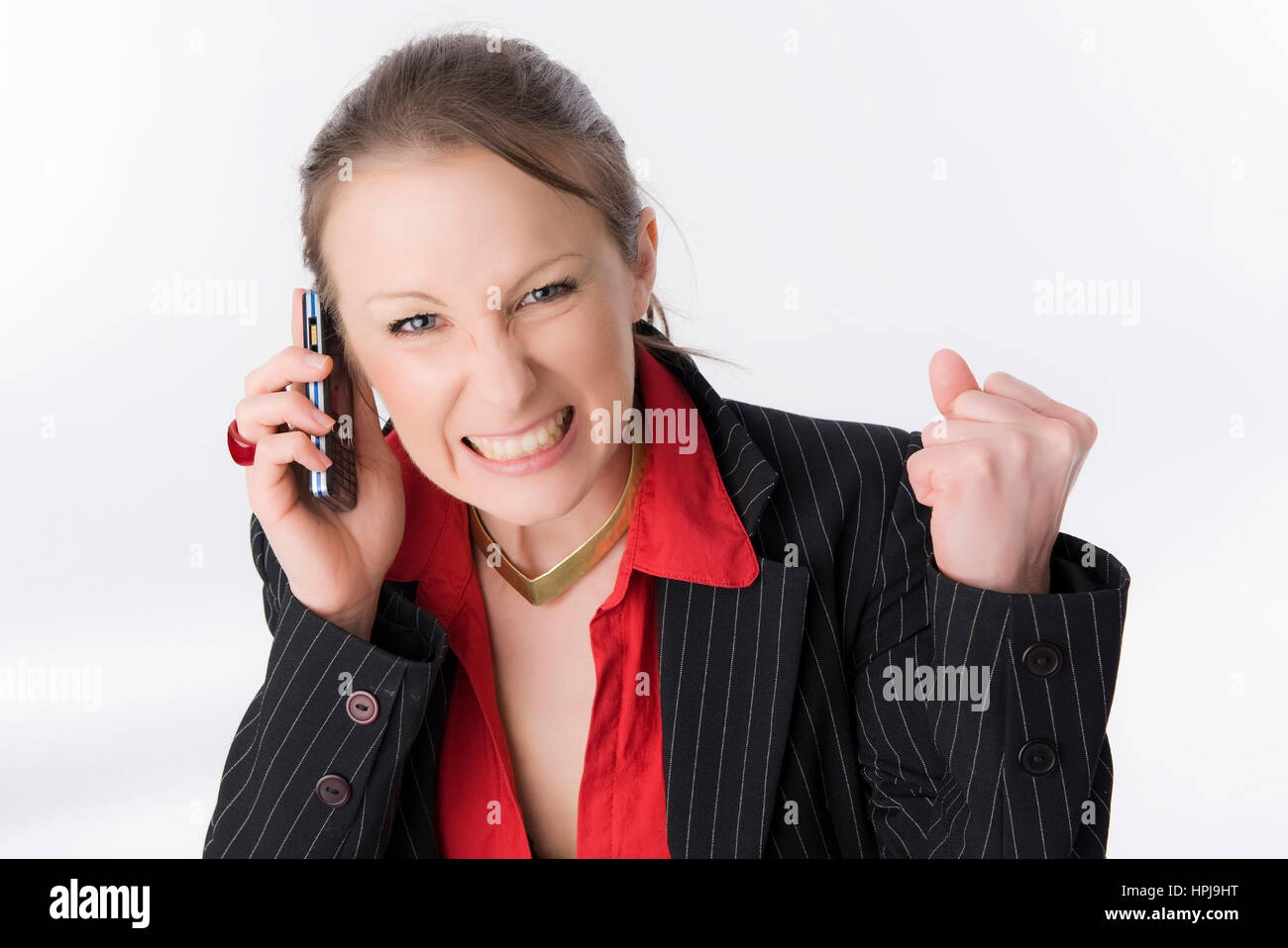 Model released , Geschaeftsfrau mit Handy - business woman with mobile phone Stock Photo