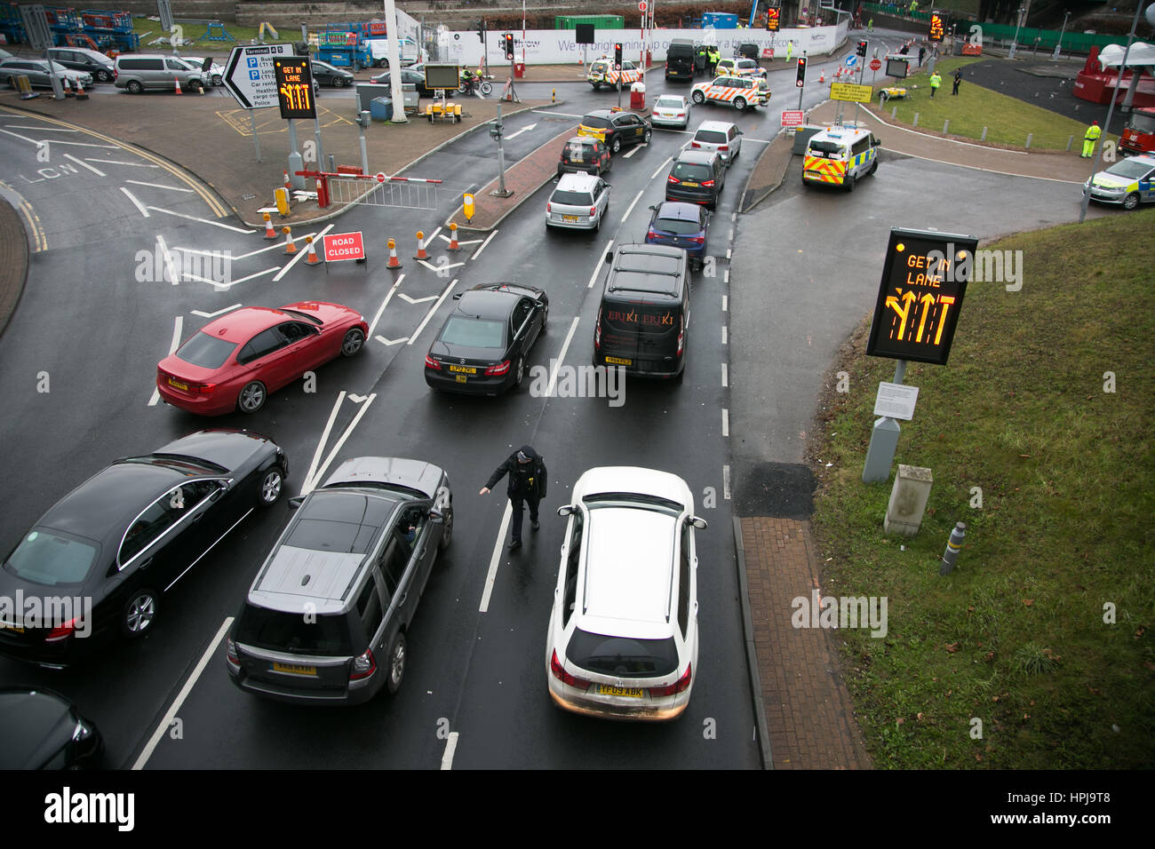 Traffic jam at Heathrow airport after three RisingUp! climate activists have blocked the access tunnel  in protest - Stock Image