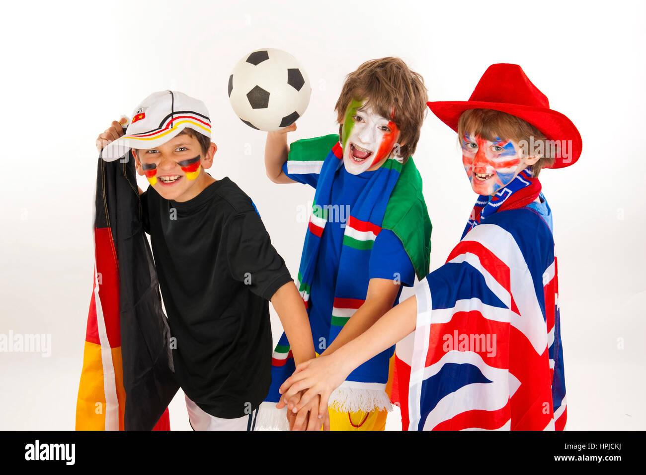 Model released , Fussballfans, Fussball-WM - soccer fans - Stock Image