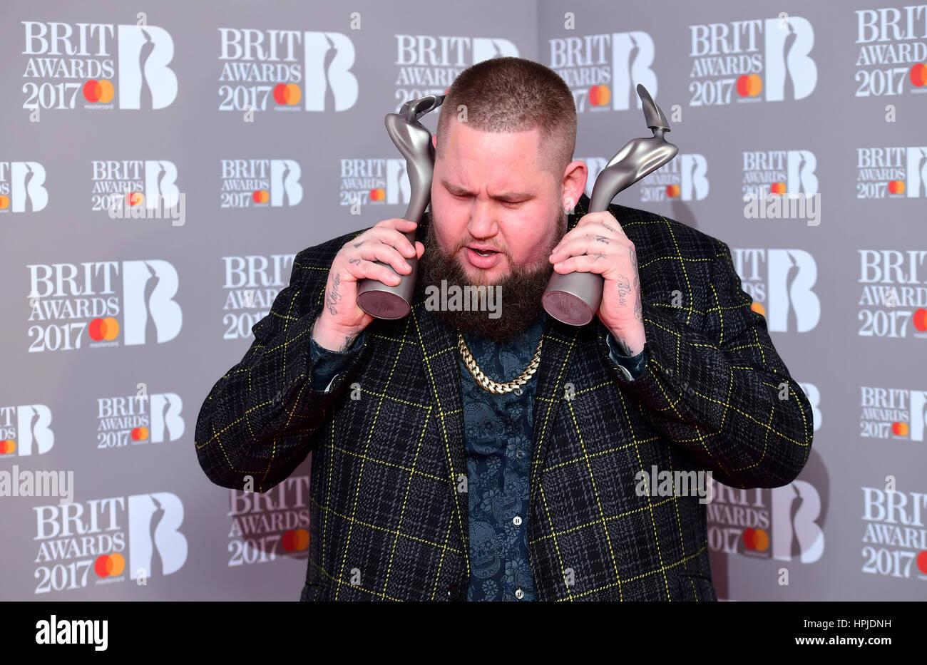 Rag 'n' Bone Man aka Rory Graham with the Critic's Choice and Best British Breakthrough Artist Award's - Stock Image