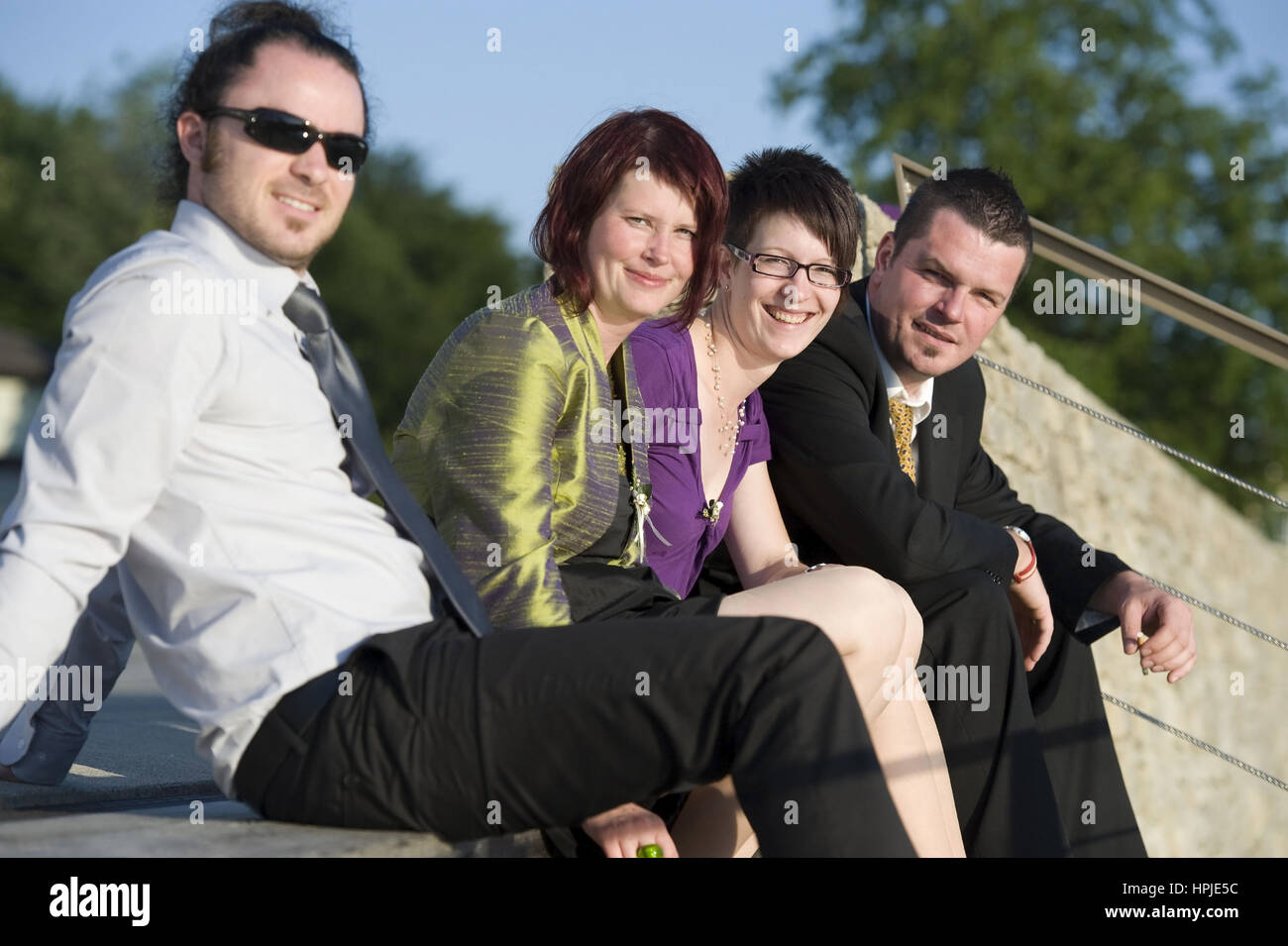 Model released , Junge Leute in der Sonne - young people on a sunny day - Stock Image