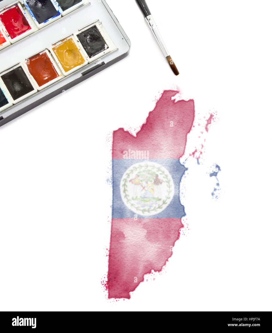 A Watercolor Painting Of Belize In The National Colors Series Stock Photo Alamy
