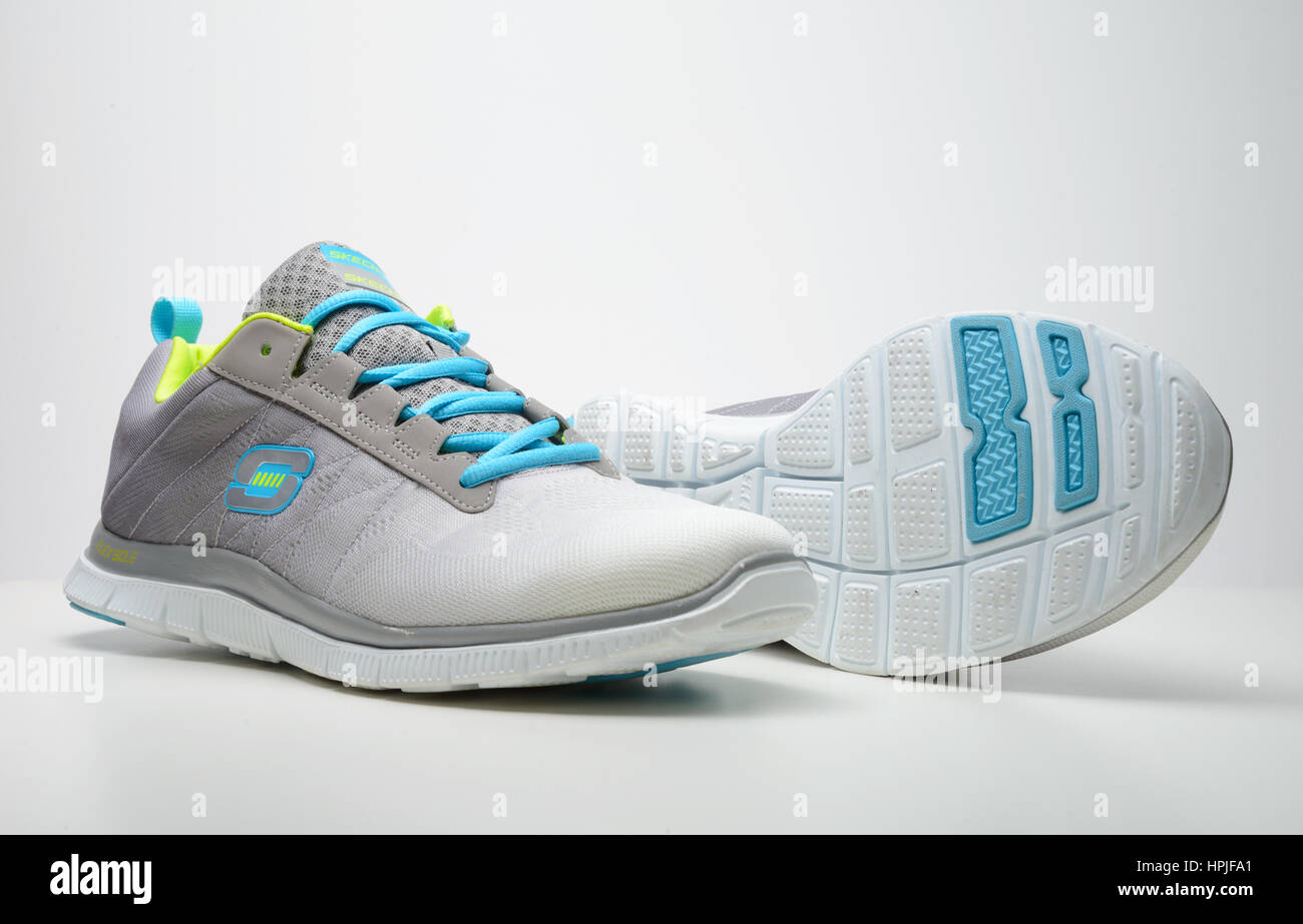 Pair of Skechers running shoes cut out isolated on white background Stock Photo