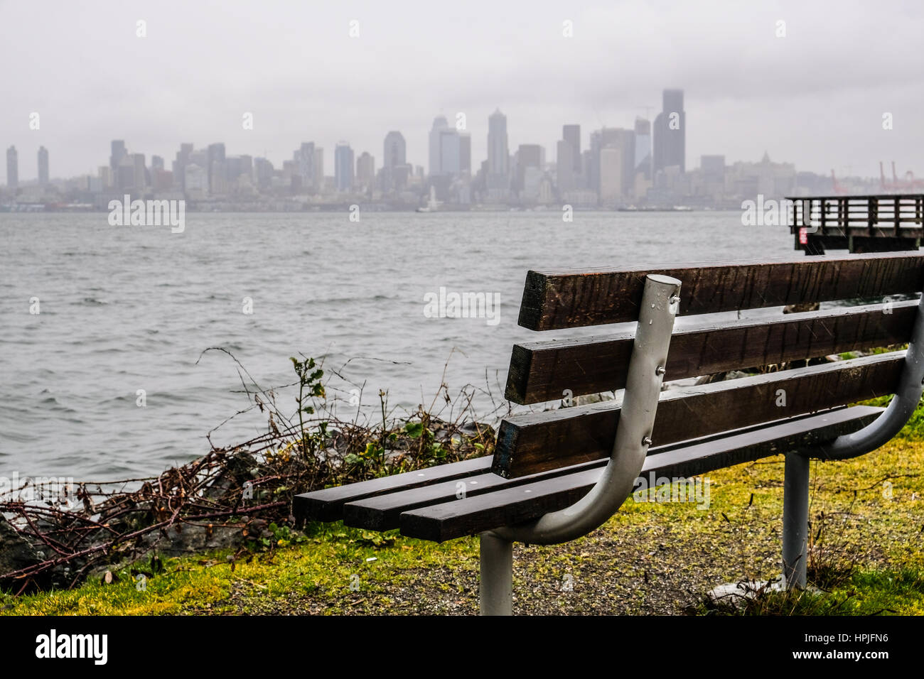 Seattle downtown under gloomy and dark clouds - Stock Image