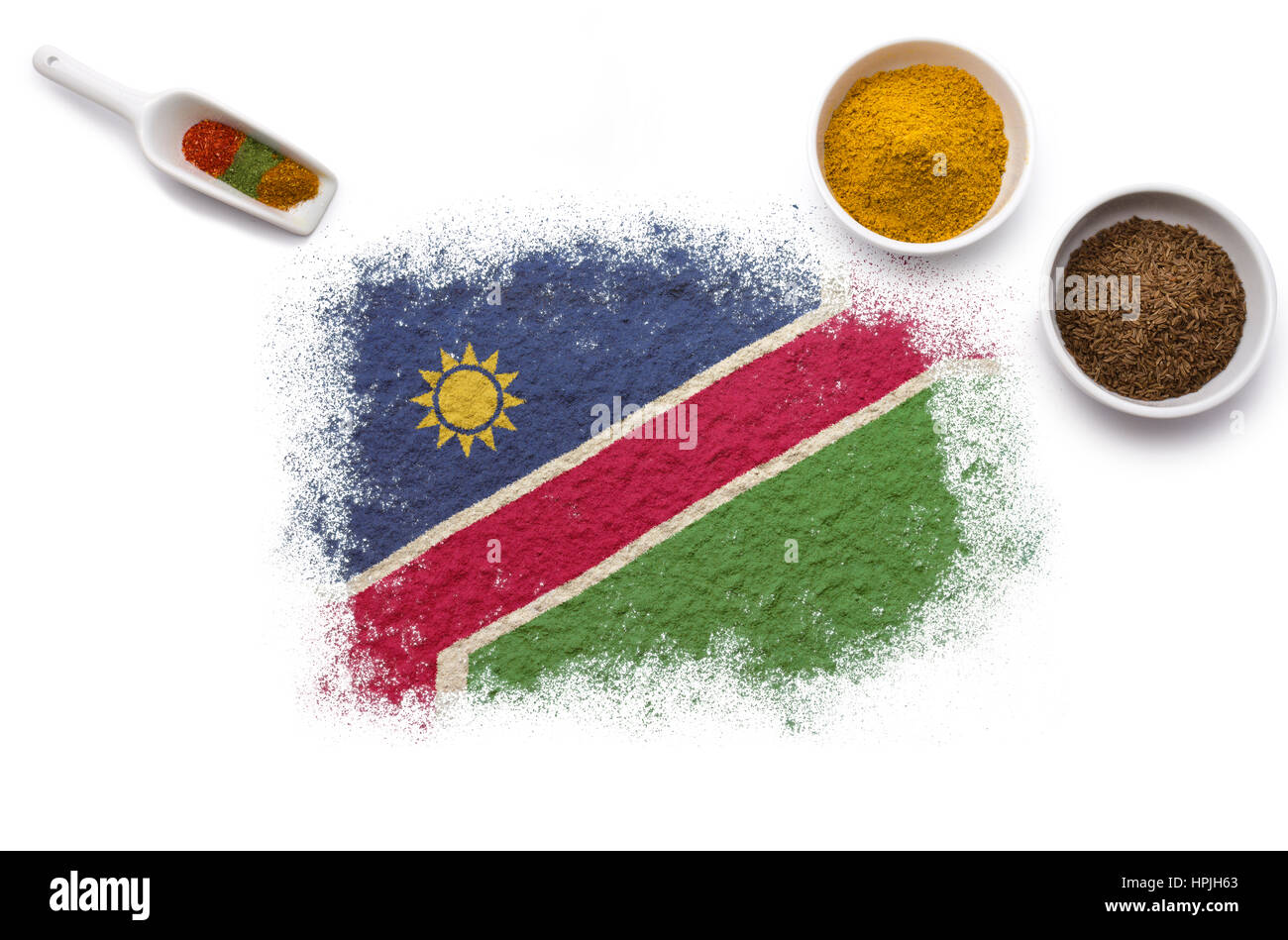 Various spices forming the flag of Namibia.(series) - Stock Image