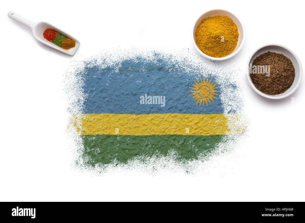 Various spices forming the flag of Rwanda.(series) - Stock Image