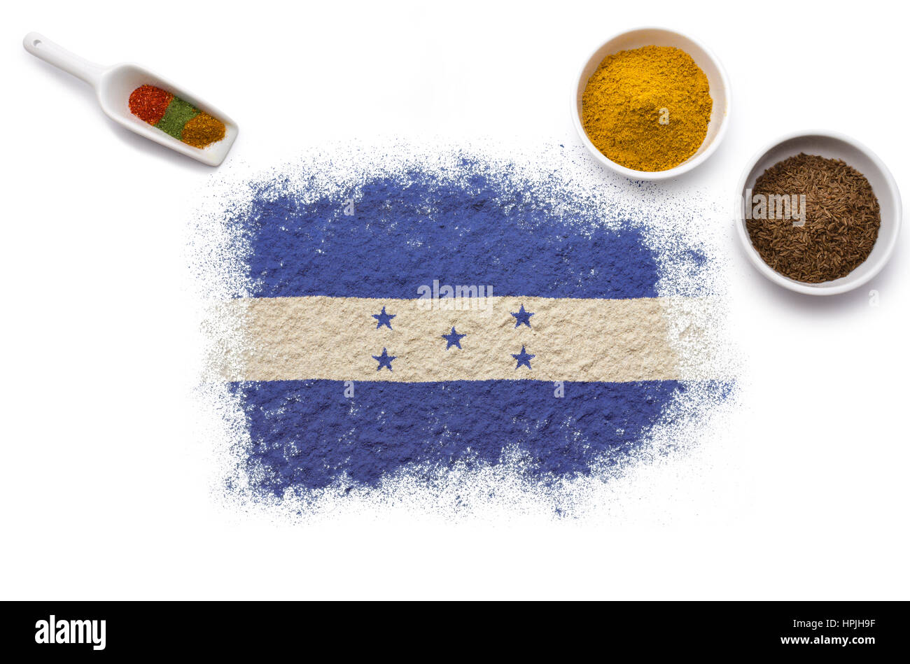 Various spices forming the flag of Honduras.(series) Stock Photo