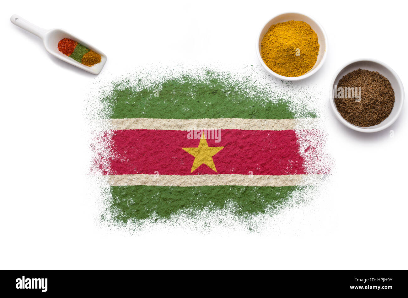 Various spices forming the flag of Suriname.(series) - Stock Image