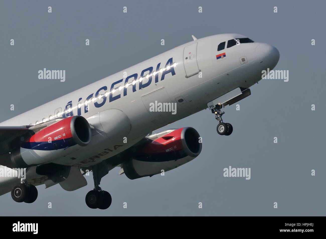 Air Serbia, national airline of Serbia Airbus A320-200 two-engine single-aisle passenger jet aircraft during take - Stock Image