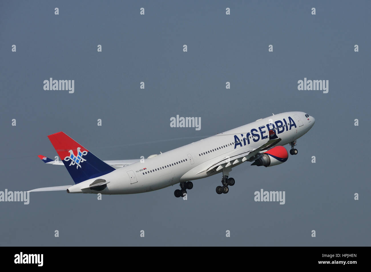 Air Serbia, national airline of Serbia Airbus A330 two-engine widebody passenger used for Belgrade to New York flights - Stock Image