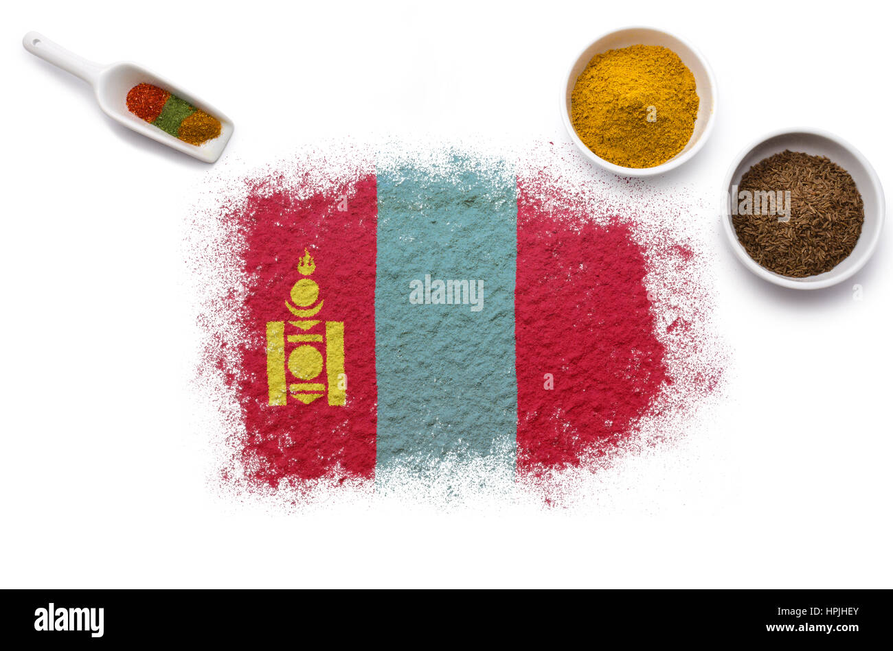 Various spices forming the flag of Mongolia.(series) - Stock Image