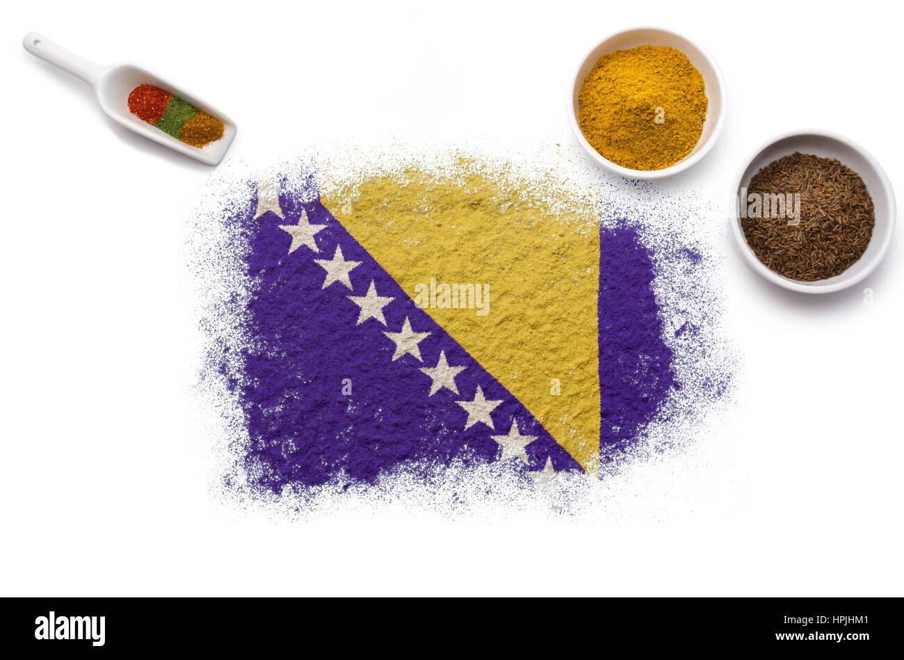 Various spices forming the flag of Bosnia and Herzegovina.(series) - Stock Image