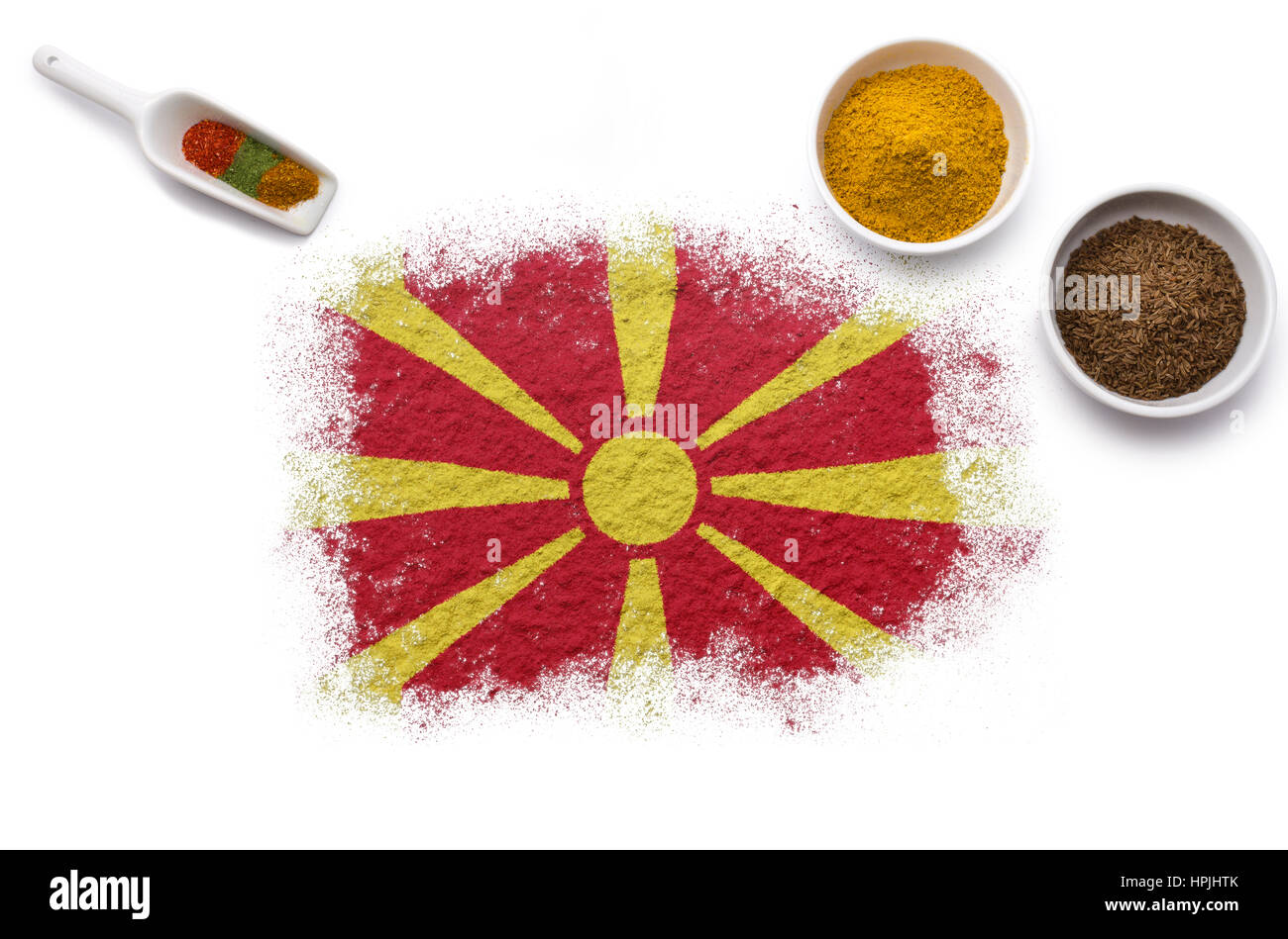 Various spices forming the flag of Macedonia.(series) - Stock Image