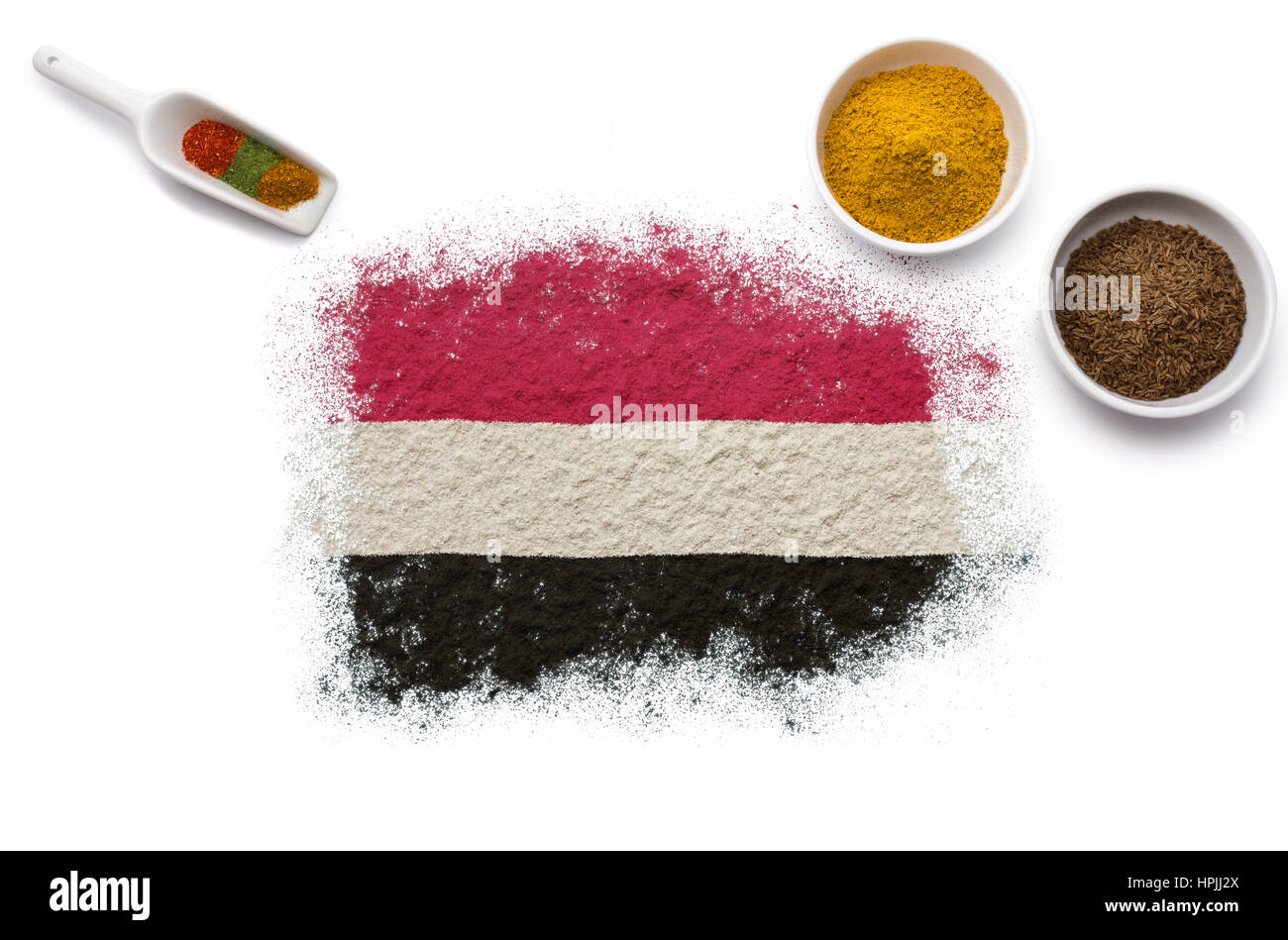 Various spices forming the flag of Yemen.(series) - Stock Image
