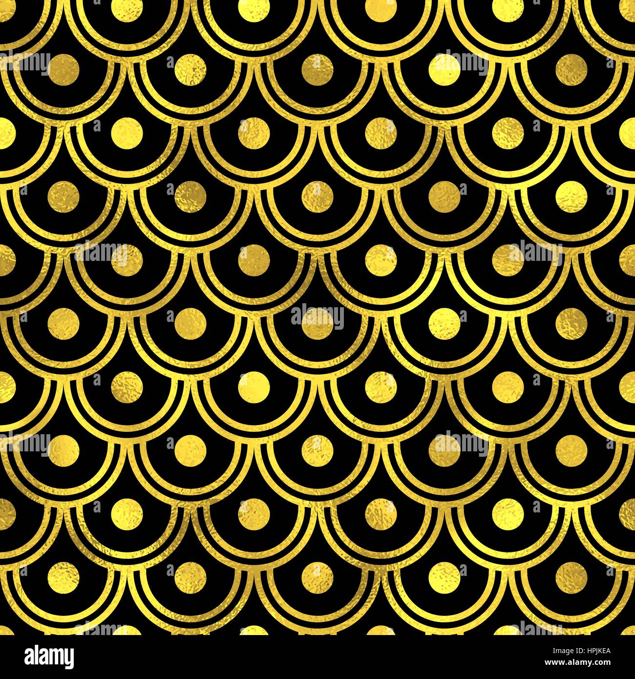Abstract seamless scaled pattern with golden scales. Vector art deco ...
