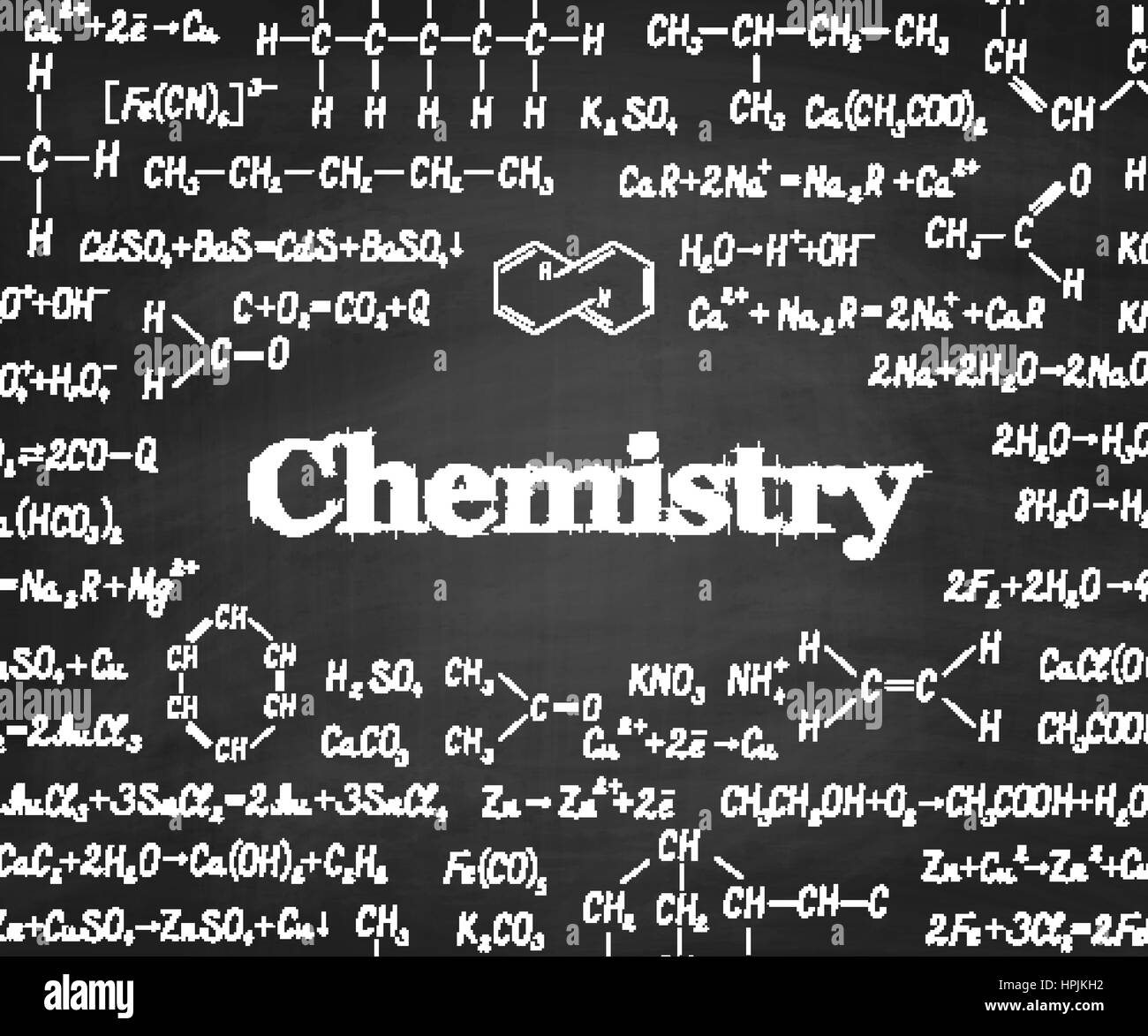 Welcome back to school with chemical formulas and figure on school blackboard on background. School chemistry education Stock Vector