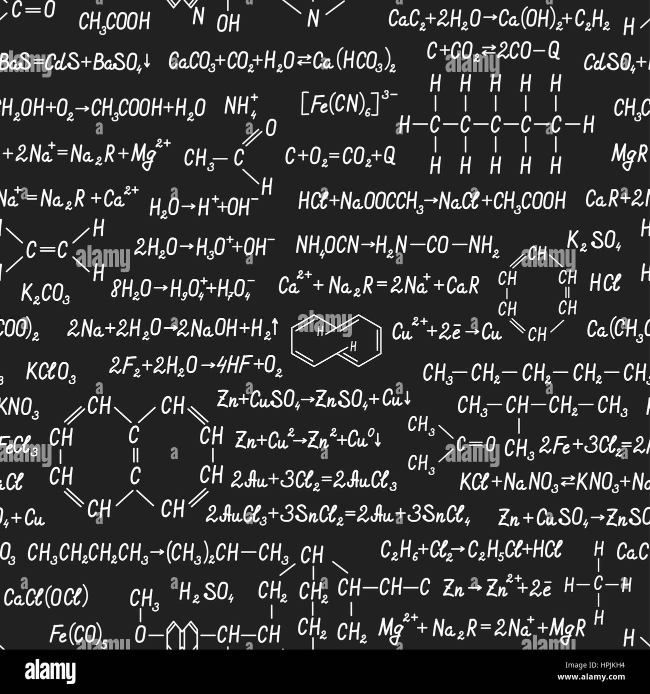 Chemistry vector seamless pattern with formulas, equations and figures, handwritten on a blackboard seamless design Stock Vector