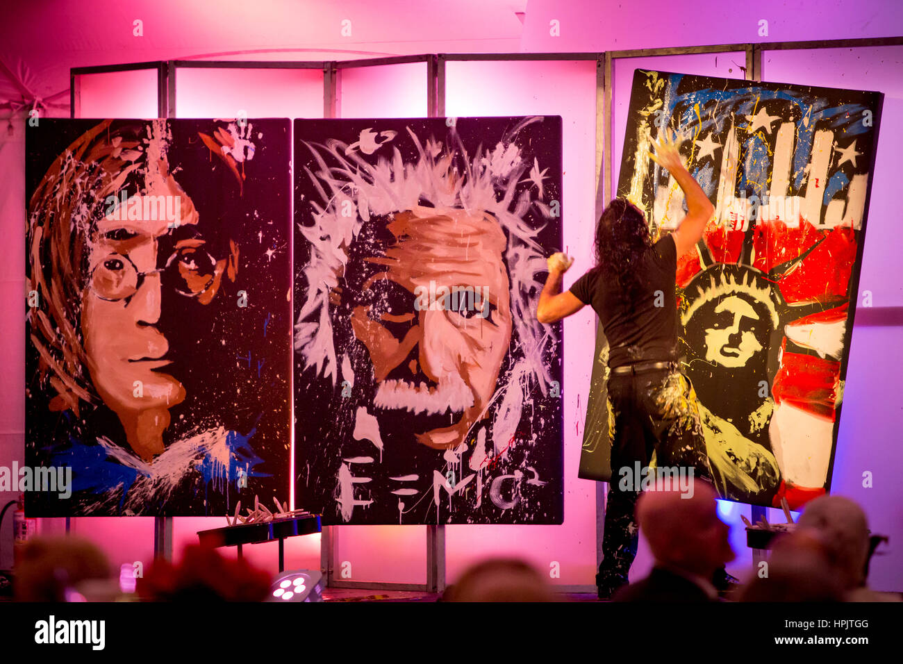 Michael Israel performs his 'Concert of Art' at David Lawrence Center Gala, January 23, 2016, Naples, Florida, - Stock Image