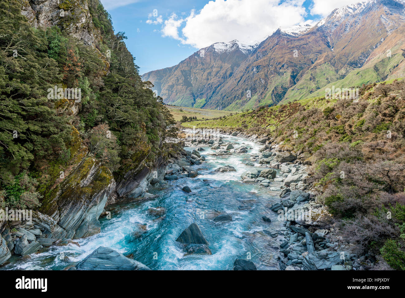 Matukituki River, river flows through the valley, Mount Aspiring National Park, Otago, Southland, New Zealand - Stock Image