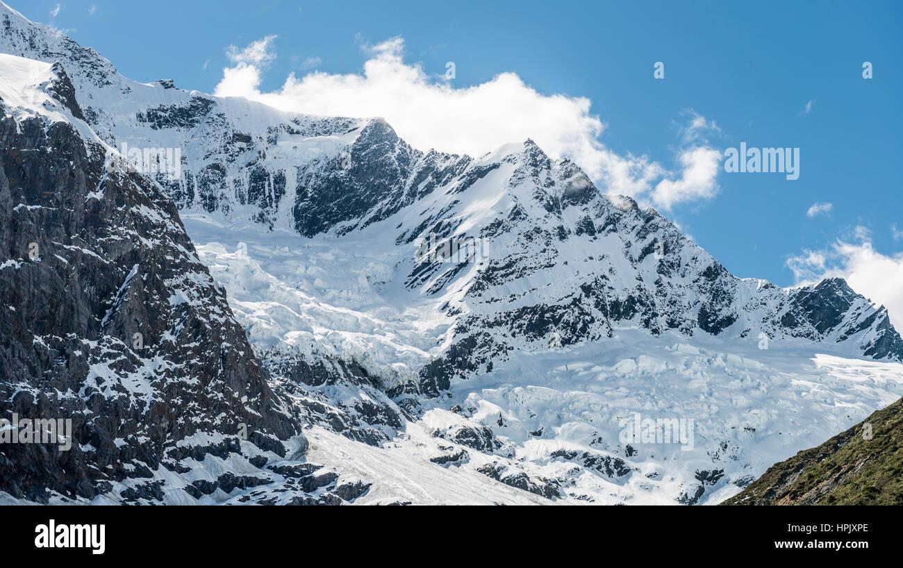Rob Roy Glacier, Mount Aspiring National Park, Otago, Southland, New Zealand - Stock Image