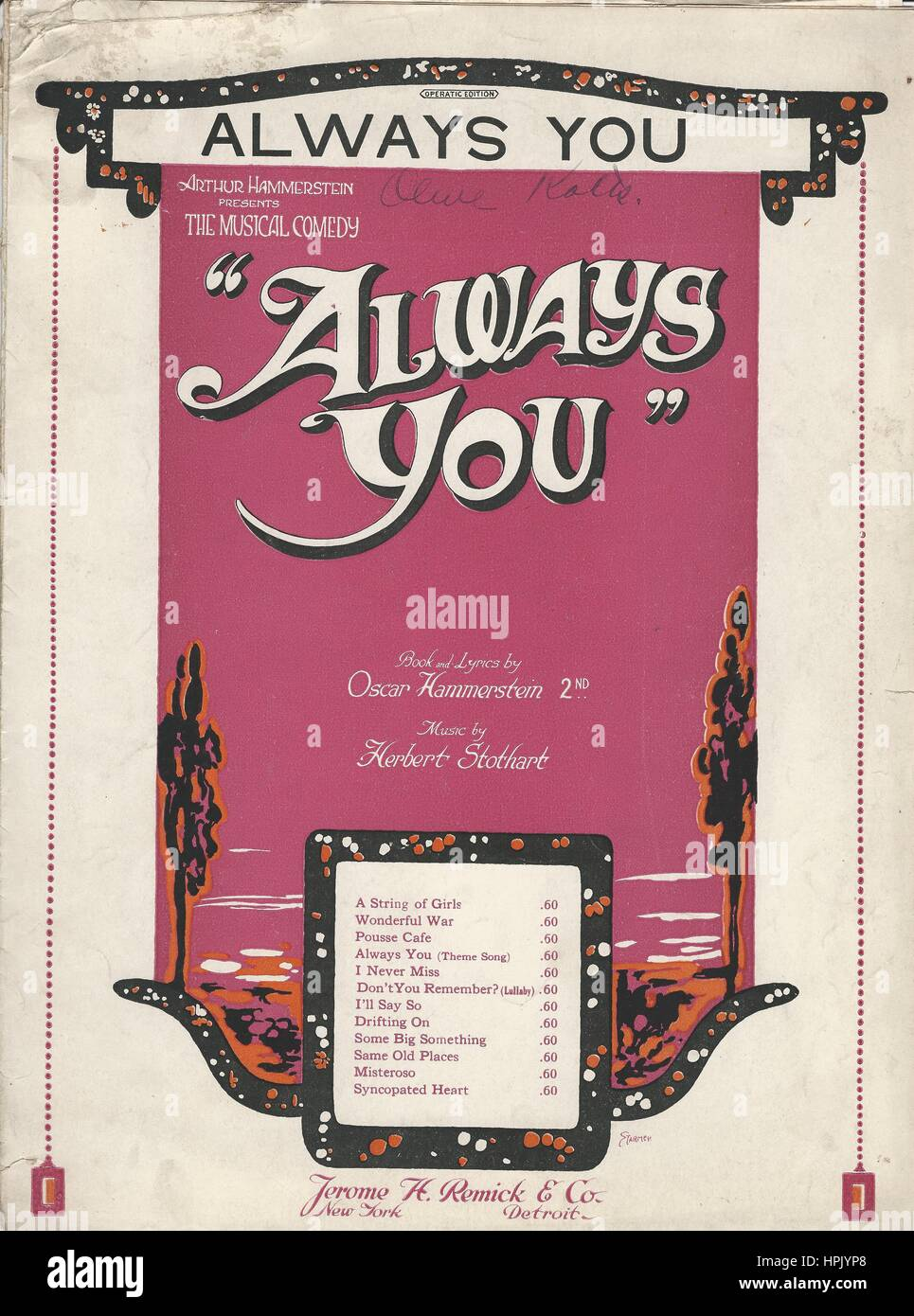 """""""Always You"""" 1920 Musical Sheet Music Cover Stock Photo"""