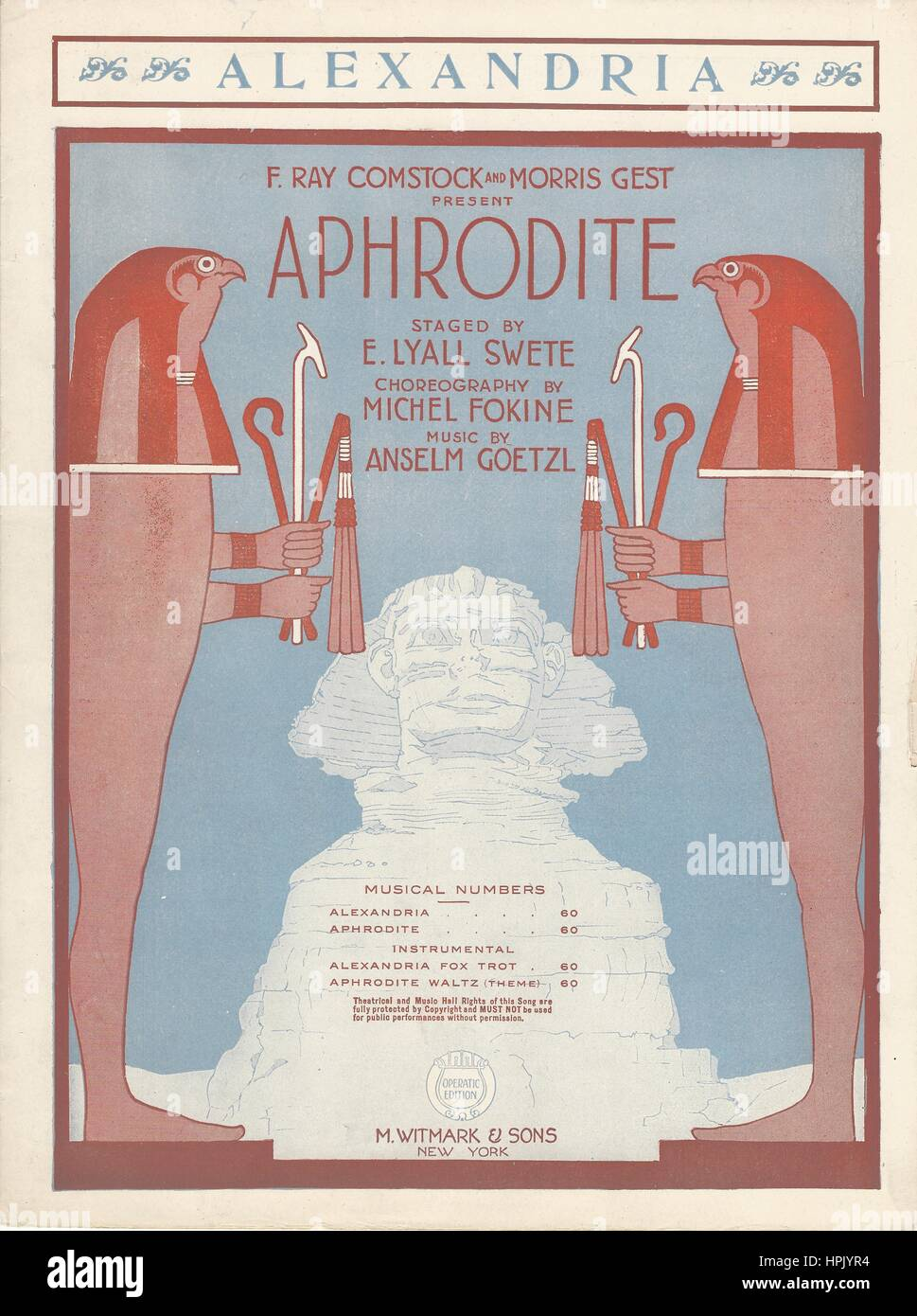 """Aphrodite"" 1919 Musical Sheet Music Cover Stock Photo"