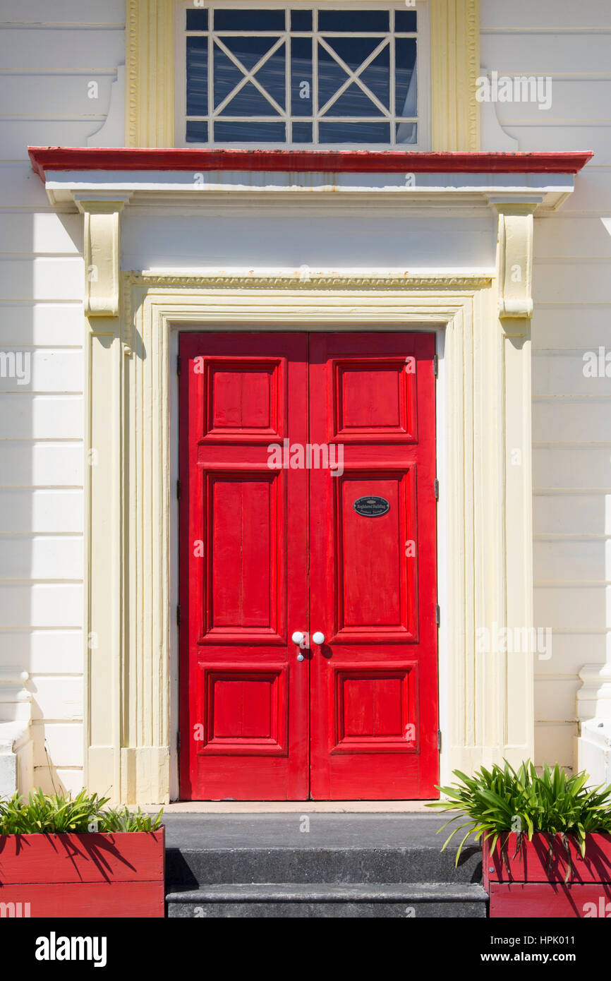 Hokitika, West Coast, New Zealand. Colourful front door of the former Bank of New Zealand building in Revell Street. - Stock Image
