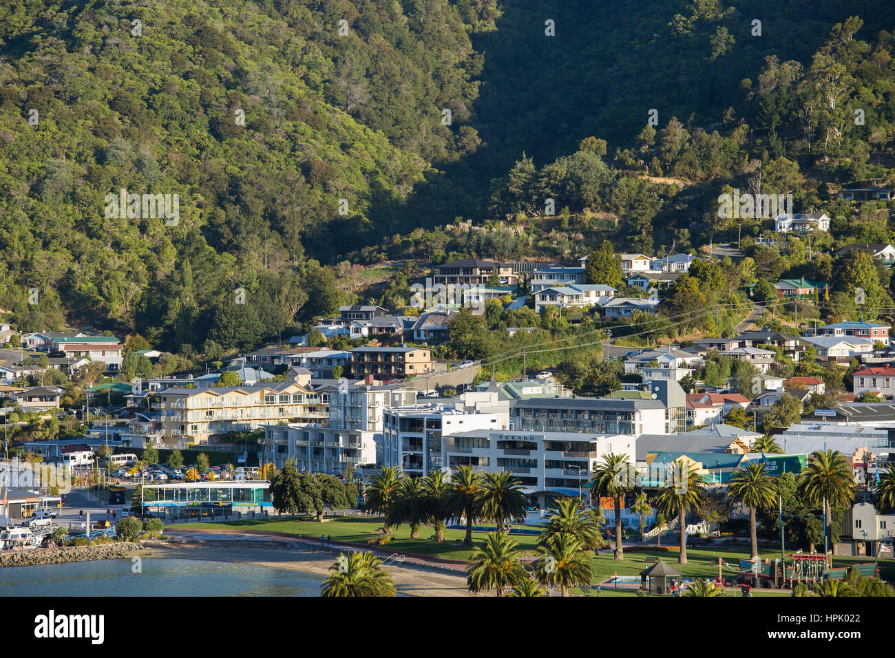 Picton, Marlborough, New Zealand. View to the waterfront from hillside viewpoint on Queen Charlotte Drive. - Stock Image