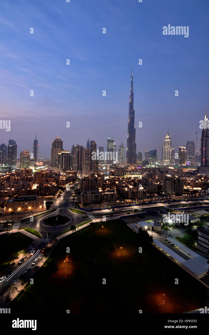 Dubai Skyline at night from South ridge in Business Bay, Dubai, United Arab Emirates Stock Photo