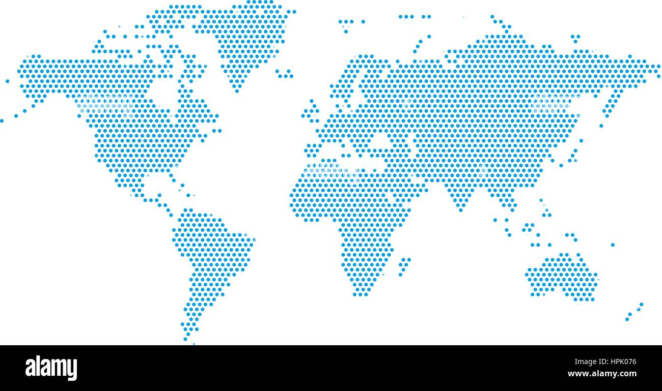 World Continents Map - Dots style illustration Stock Vector Art ...