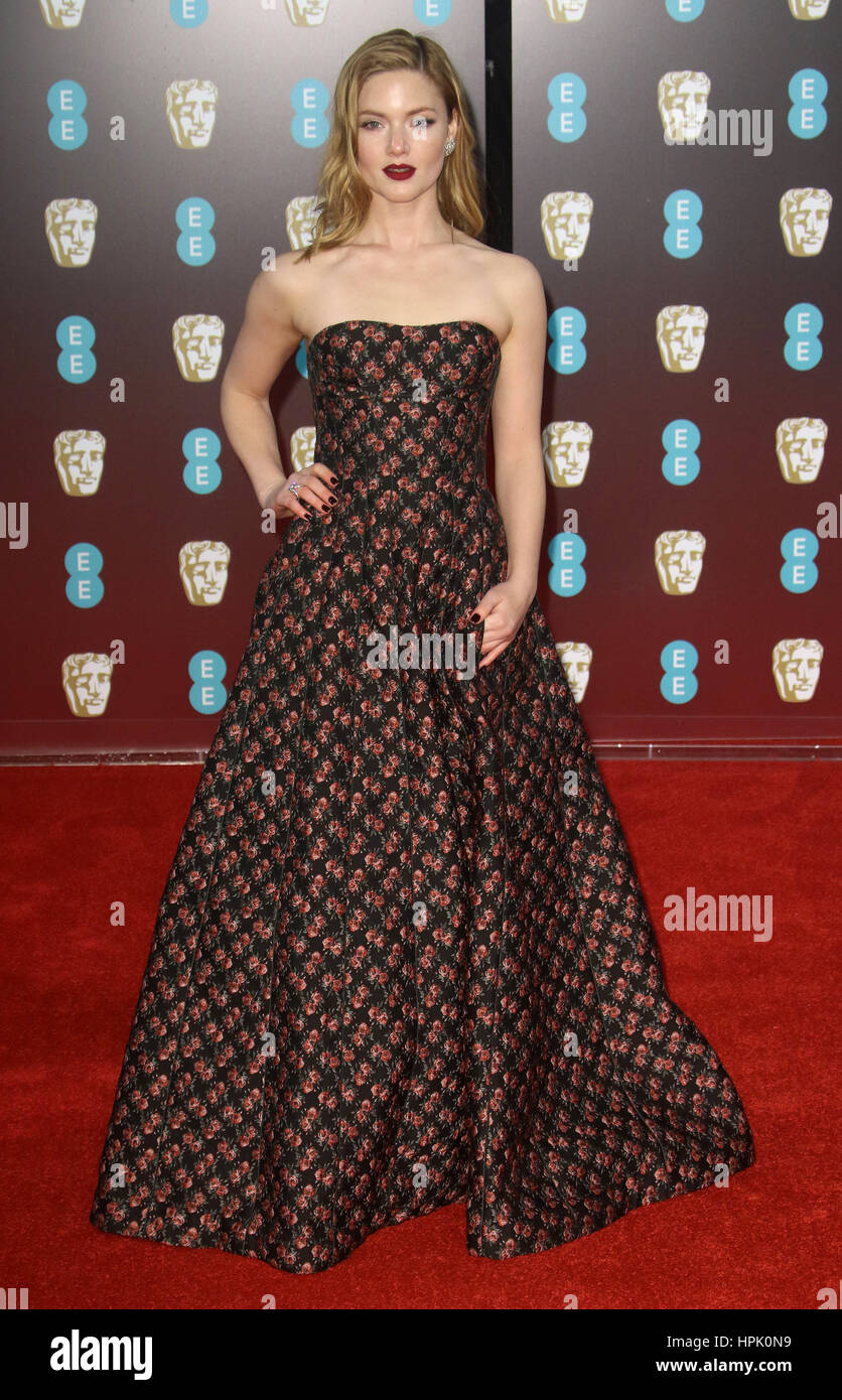 Feb 12, 2017  - Holliday Grainger attending EE British Academy Film Awards 2017 at Royal Opera House in London, - Stock Image