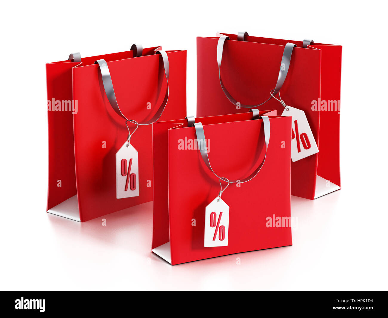 97755ab117e Red shopping bags with sale tags. 3D illustration Stock Photo ...