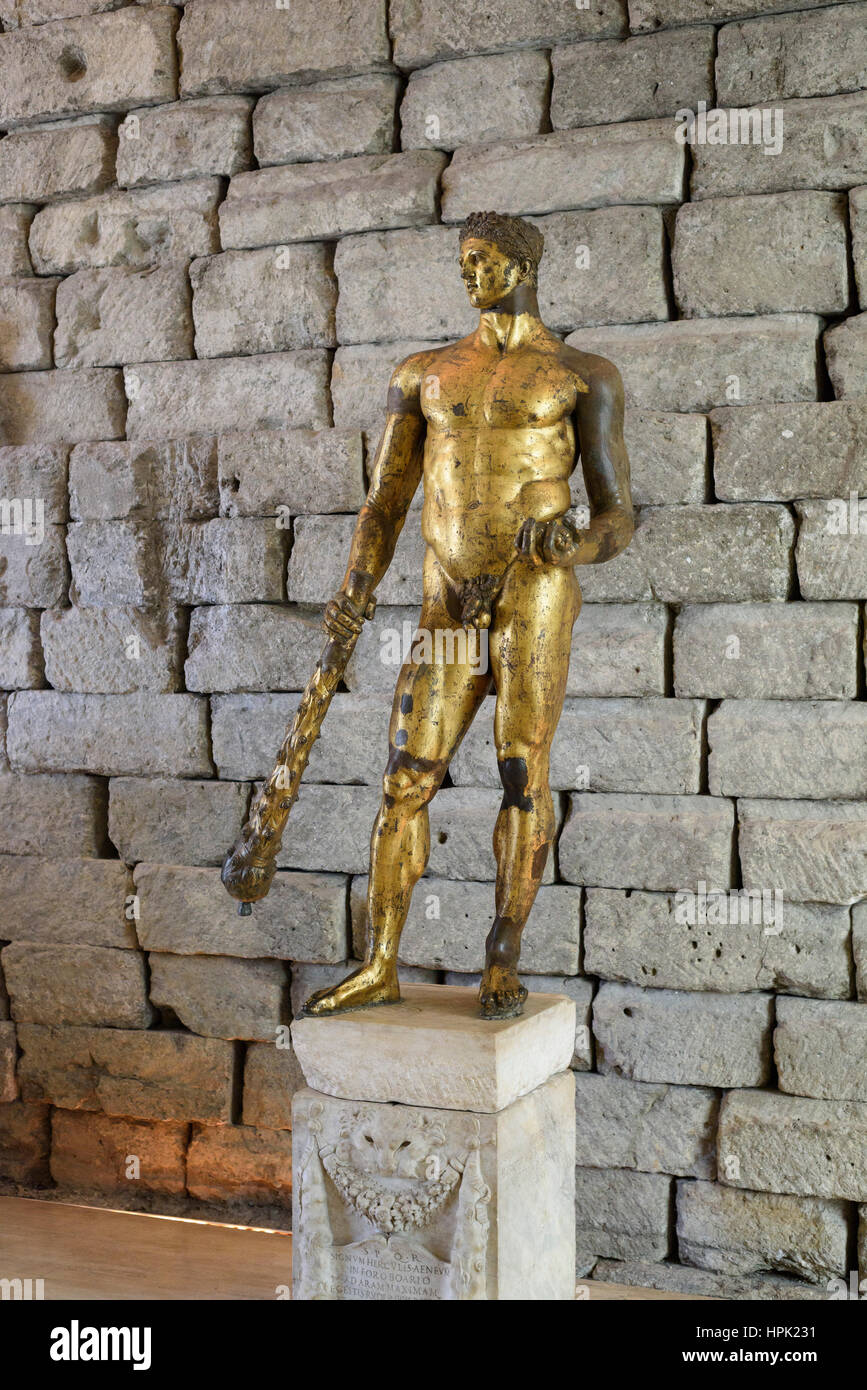 Rome. Italy. Bronze statue of Hercules in gilded bronze, sculpture, 2nd C BC, from the Forum Boarium, Capitoline - Stock Image