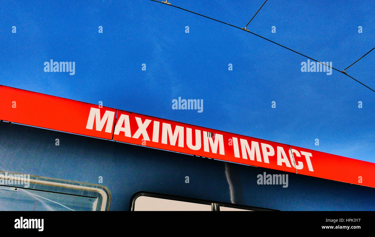 Maximum impact sign on side of tram - Stock Image