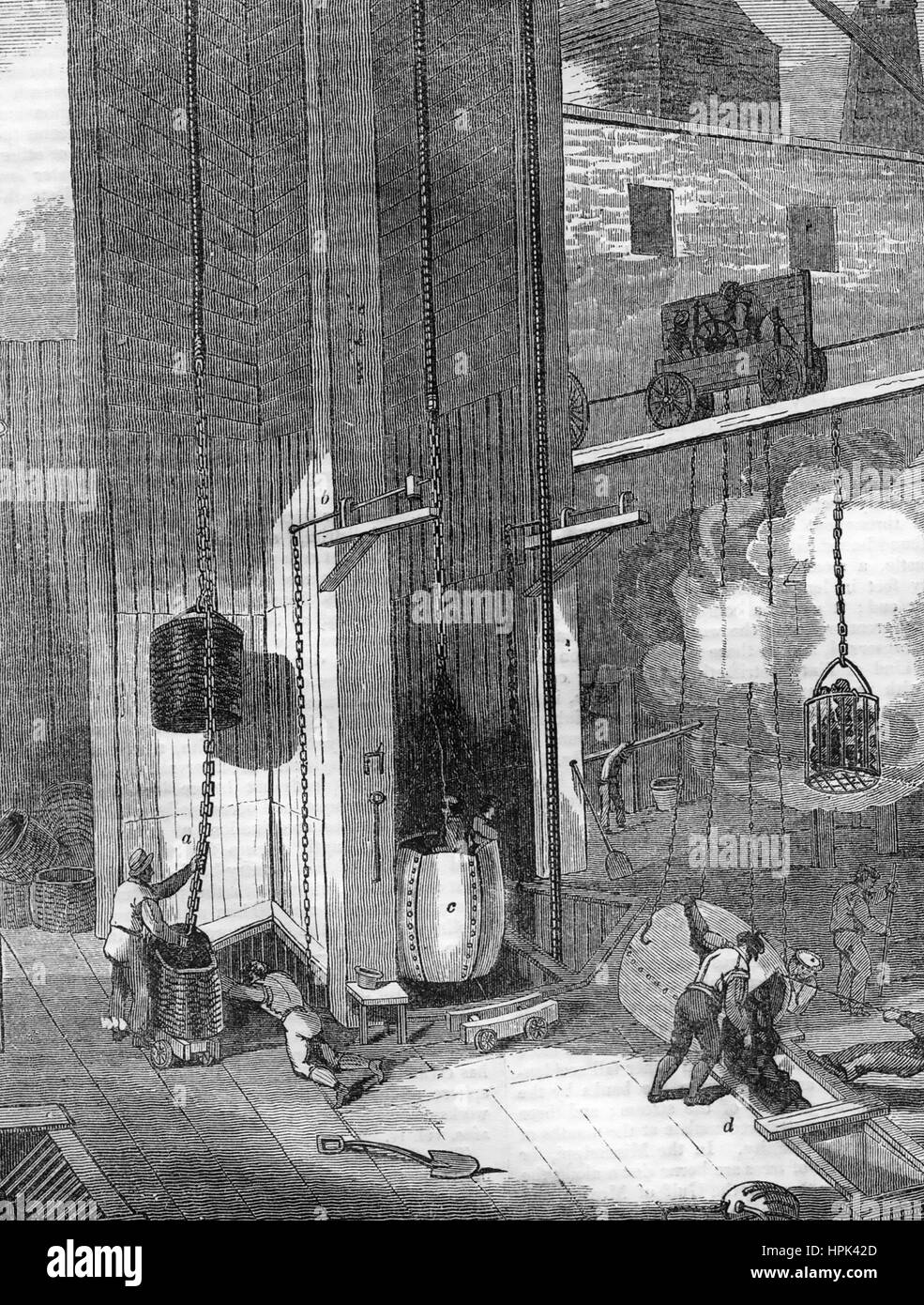 HULTON COLLIERY in the Lancashire coalfields, engraving about 1850 showing coal being hauled up from the mines owned - Stock Image