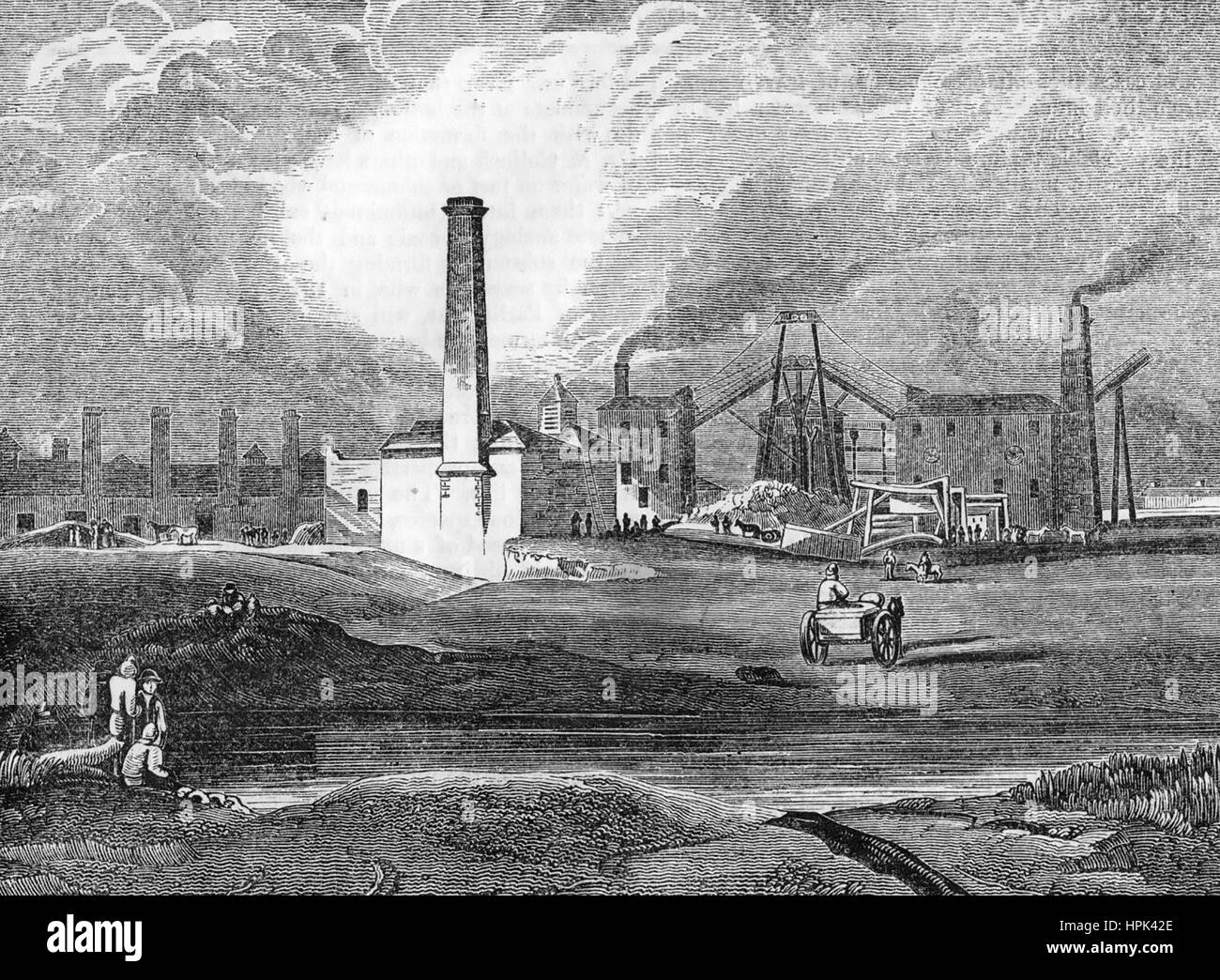 HULTON COLLIERY in the Lancashire coalfields owned by the reactionary William Hulton. Engraving about 1850. - Stock Image