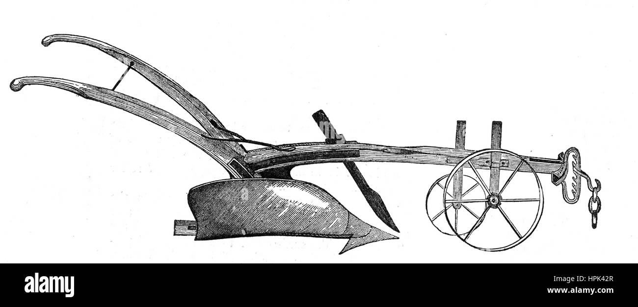 BEDFORDSHIRE PLOUGH  1850 engraving - Stock Image